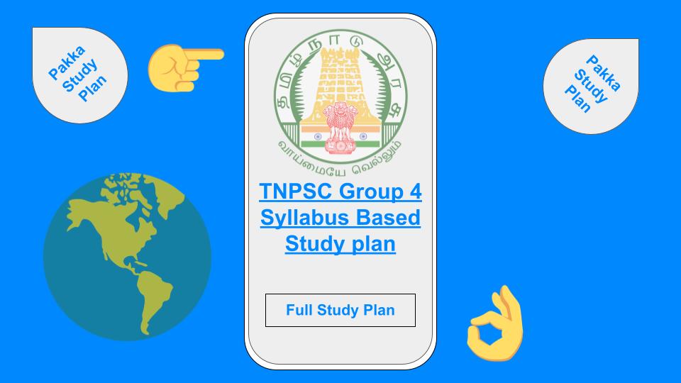 TNPSC Group 4 Study Plan 2021 PDF
